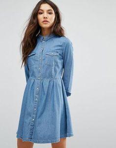 Only – Jeans-Skaterkleid mit Knopfleiste