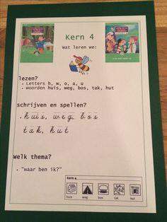 Kern 4. Doelenkaarten per kern voor Veilig Leren Lezen 2e maanversie, om de leerdoelen voor de leerlingen, de ouders en jezelf inzichtelijk te maken. Ik kan je het bestand mailen in pdf, stuur je een mailtje aan: jufhesterindeklas@gmail.com? Dan stuur ik de gevraagde bestanden toe. Achtergrond is gekleurd karton 270 grams, in dit geval in dezelfde kleur als de kern. Homework, Kids Learning, Spelling, Homeschool, Classroom, Letters, Writing, Education, Reading