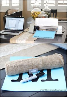 Easy DIY Burlap Monogrammed Table Runner created with the SIlhouette Silhouette Cutter, Silhouette Vinyl, Silhouette Cameo Projects, Silhouette Design, Burlap Projects, Burlap Crafts, Vinyl Projects, Burlap Monogram, Burlap Wall