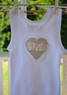 Girls Shabby Chic Valentine love heart Singlet in Linen and Cream. $15.00, via Etsy.