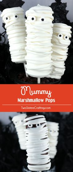 Mummy Marshmallow Pops - a spooky and yummy Halloween dessert for your family. So easy to make and you won't believe how delicious these Chocolate covered Marshmallow Pops are. They would be a great Halloween Treat for this year's Halloween Party. Halloween Sweets, Halloween Baking, Halloween Chocolate, Halloween Goodies, Halloween Candy, Family Halloween, Halloween Ideas, Halloween Stuff, Halloween Costumes