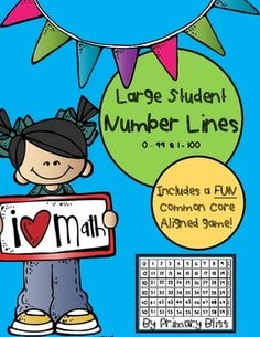 FREEBIE! This product includes two large student number lines. One includes numbers 0 - 99 and one includes 1 - 100. You can have students create the whole number line, or just part of it, depending on your objectives. The entire number line is over 8 feet long, so it is very large.