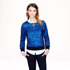 J.Crew - Delphinium jacquard sweatshirt I would be the idiot who wants the $400 sweatshirt lol...