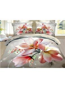 New Arrival 100% Cotton Elegant Flower 3D Printed 4 Piece Bedding Sets