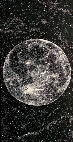 Welcome to /r/Painting! Black Aesthetic Wallpaper, Black Wallpaper, Aesthetic Wallpapers, Stippling Art, Moon Drawing, Galaxy Wallpaper, Wallpaper Backgrounds, Moon Art, Art Plastique