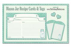 Free Printable Mason Jar Recipe Cards and Tags Awesome in Aqua