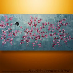 Abstract Painting Art Original Acrylic Landscape Tree Asian Blossom Zen by Gabriela 48x24 Large Painting Abstract Birds