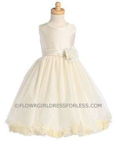 Flower Girl Dress Style BLH341- Shantung Bodice Dress with Tulle Skirt Petal Dress
