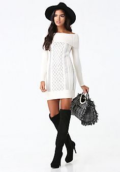 Pretty and sexy sweater dress! ~ Bebe Off Shoulder Sweater Dress