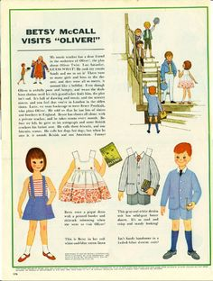 Vintage May 1963 Magazine Paper Doll of Betsy McCall Visits Oliver
