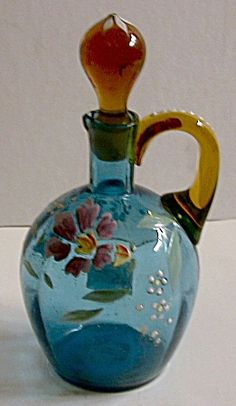 Enameled art glass Victorian cruet