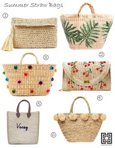 The ultimate straw beach bag guide. 15 of the best straw bags, totets, clutches and purses around Diy Tote Bag, Beach Tote Bags, Straw Beach Bags, Ethnic Bag, Diy Bags Purses, Straw Tote, Basket Bag, Handmade Bags, Handmade Leather