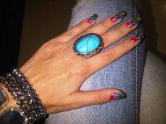 rainbow leopard nails !