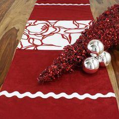 Brite Ideas Living Passion Suede Cinnabar Joliet Scarlet Table Runner - RPL72T810