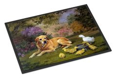 Yellow Labrador and Chicks Indoor or Outdoor Mat 24x36 HEH0096JMAT