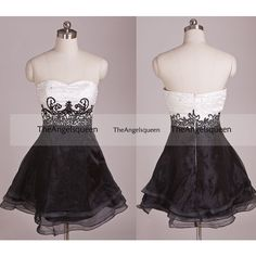 Sweetheart Black and White Strapless Lace Tulle Short Party... ❤ liked on Polyvore featuring dresses, bridesmaid dress, evening dress, party dress, prom dress, lace prom dresses, short bridesmaid dresses, strapless prom dresses, lace cocktail dress and black and white prom dresses