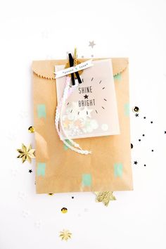 gift wrap with kraft bags, polka dots, & clothespins