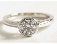 1 Carat Diamond Bezel Set Solitaire Engagement Ring | Blue Nile Engagement and Wedding Rings