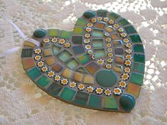 Turquoise Heart Ornament Valentine's Day Gift Mosaic