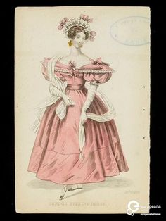 London Evening Dress. Pink dress and cap. Fashion plate from an English publication, possibly the Ladies' Pocket Magazine, mid 1830s. Hand-coloured engraving showing a woman in fashionable dress. Pink dress with full skirt and puffed sleeves, white scarf and cap.  Hand-coloured engraving.