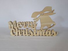 Merry Christmas freestanding sign scroll saw cut from