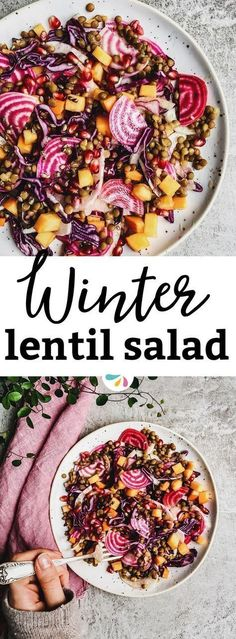 Beautiful to look at and delicious to eat, this healthy winter salad with lentils is everything you need to feel good. Vegan, gluten free and filled with plant-based protein and fiber! Make it as a holiday side for Christmas or as a salad for a wholesome Valentine's Day dinner! This will impress anyone. | #vegan #glutenfree #healthy #wellness #cleaneating #SaladsAnyone?
