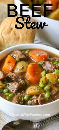 easy beef stew comes out so perfectly tender and flavorful every time. It is one of our all time favorite recipes!This easy beef stew comes out so perfectly tender and flavorful every time. It is one of our all time favorite recipes! Easy Soup Recipes, Healthy Recipes, Meat Recipes, Cooker Recipes, Dinner Recipes, Healthy Soup, Recipes With Beef Cubes, All Recipes Beef Stew, Stewing Beef Recipes