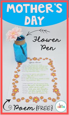 When I first started teaching, a coworker recommended making flower pens for Mother's Day with my students. I thought the idea was GENIUS! Every year since, I have been making these flower pens with my students. They also write this poem to their mothers or grandmothers and they turn out JUST PERFECT!
