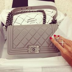 Gorgeous soft grey Chanel Boy Bag