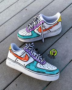 """Go on to """"Richy Customs"""" website to find these shoes Dr Shoes, Hype Shoes, Vans Shoes, Me Too Shoes, Shoes Sneakers, Custom Painted Shoes, Custom Shoes, Nike Custom, Custom Af1"""