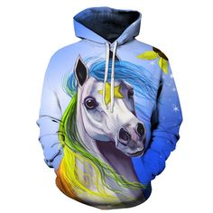 1aa9f5b4524 Horse Color Pullover Hoodie. Unicorn HorsePlus Size JumpsuitPrinted ...