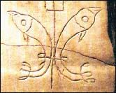 This site contains some photos and drawings of early Christian symbology, with links to many others. Most of these represent Christian visual art prior to 313 A.D., when Emperor Constantine legalized Christianity.  During this time, the cross is seldom seen, except disguised in some way as an anchor, a trident, or the mast of a ship. Image: Two fish and a trident
