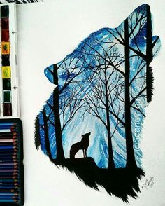Silhouette Art by Wolf Painting, Painting & Drawing, Animal Drawings, Cute Drawings, Desenho Tattoo, Silhouette Art, Art Plastique, Cute Art, Art Sketches