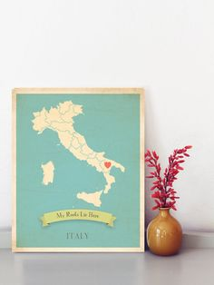 My Roots Personalized Vintage Map Wall Art di ChildrenInspire