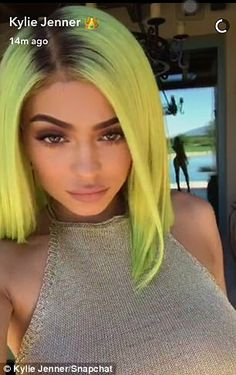 Mellow in yellow: Jenner posed up a storm for her Snapchat followers