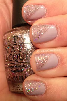 diagonal glitter nails