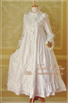 Dear Celine Cotton Long Nightgown OP - Another! Kawaii Fashion, Lolita Fashion, Cute Fashion, Rock Fashion, Fashion 2018, Fashion Boots, Vintage Dresses, Vintage Outfits, Vintage Fashion