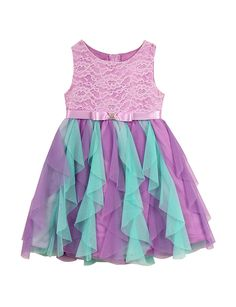 Rare Editions Purple & Teal Lace Chiffon Ruffled Dress –  Toddlers & Girls 5-6x | Stage Stores