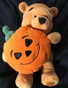 Disney Store Halloween Pumpkin Winnie The Pooh Witch Bean Bag Plush Winnie The Pooh Plush, Bean Bag, Halloween Pumpkins, Witch, Teddy Bear, Make It Yourself, Toys, Disney, Animals