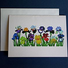 Iris garden single card with envelope by RVJamesDesigns on Etsy, $3.00
