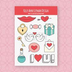 Love Sticker Sheet, Lips Sticker, Lock and Key Sticker, Heart Sticker, Love Birds Sticker, Vinyl Sticker, Laptop Sticker, Decal