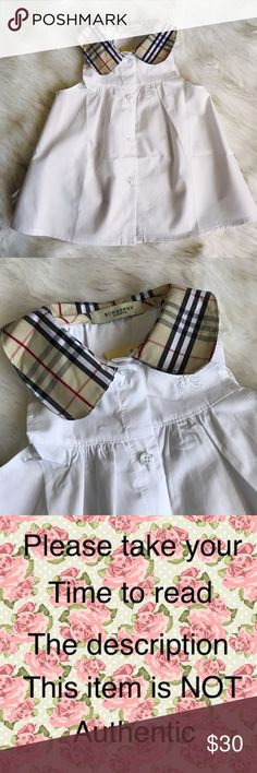Burberry Dress. Burberry pattern sleeveless white Dress, new with tags, size 12 months (inspired) not  authentic. Burberry Dresses Casual