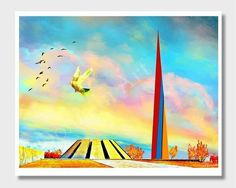 Excited to share the latest addition to my #etsy shop: Armenian Memorial, Yerevan Armenia, Armenian Genocide, Wall Art, Armenian Art, Armenia Art, Armenian Wall Decor, Genocide Memorial, Painting http://etsy.me/2muTdTt