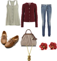 A fashion look from July 2012 featuring cardigan top, vintage blue jeans and ballet pumps. Browse and shop related looks. Hermione Granger Outfits, Harry Potter Outfits, Fandom Outfits, Fandom Fashion, Fashion Lighting, Character Outfits, Types Of Fashion Styles, Winter Fashion, Fashion Outfits