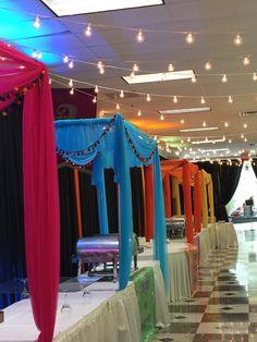 Food Stations setup at Vandana's Mehndi Decor at Global Mall by Sarita Goel of Aayojan Decorators of Atlanta, GA Wedding Food Stations, Wedding Reception Food, Buffet Wedding, Wedding Stage, Wedding Card, Wedding Events, Weddings, Wedding Tent Decorations, Diy Wedding Backdrop