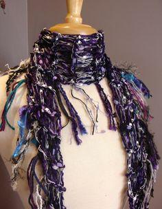 Bohemian Styling - NEW Tribal Romance in Purple Rain - Versatile Diamond-shape Scarf - Glitzy ribbon knit scarf in Purple, White, Silver, Aqua by Rock, Paper Scissorsetc, Etc on Etsy. www.rockpaperscissorsetc.etsy.com