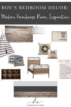 Boy's Farmhouse Bedroom Inspiration For our boy's bedroom we're all about the neutrals, with little bits of superhero accents. Industrial Farmhouse, Farmhouse Design, Modern Farmhouse, Industrial Boys Rooms, Rustic Industrial Bedroom, Farmhouse Style, Farmhouse Decor, Boys Bedroom Decor, Big Boy Bedrooms