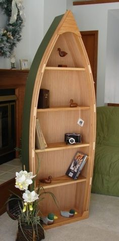 6 Foot Handcrafted Wood Row Boat Bookshelf Bookcase Shelve