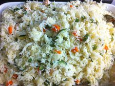 Creamy Basmati Rice! Sauce combination of onion, chopped green beans, zucchini and carrot all cooked in cream mixed with steam basmati rice!
