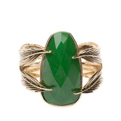 Feathers Cuff with Stunning Green Gemstone.